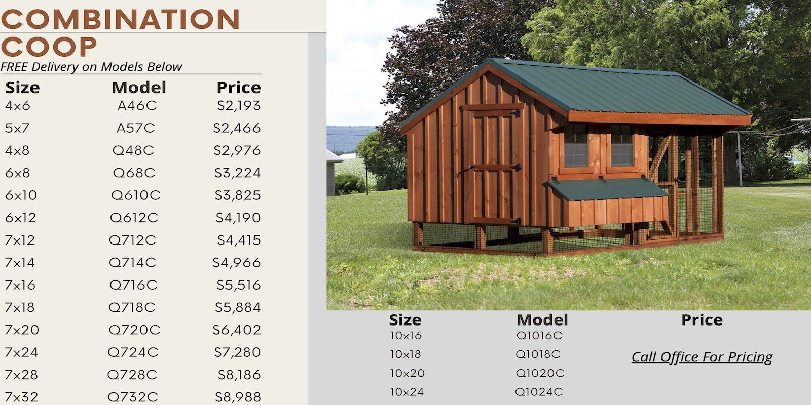 Combination Chicken Coop Prices
