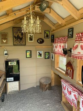 inside a chicken coop with run