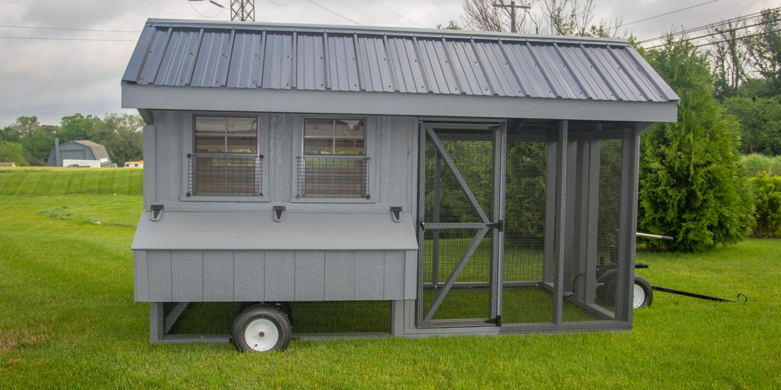 portable chicken coop on wheels with run