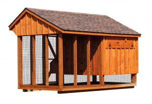 chicken coop and run back of Q612C cedar stain