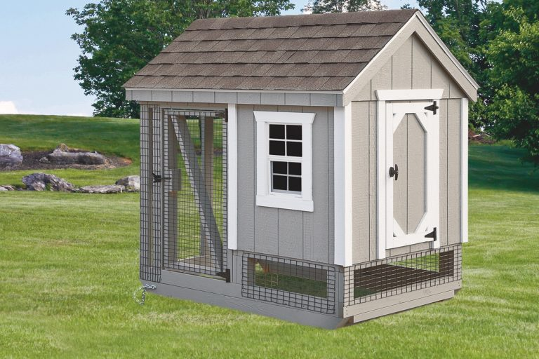 chicken coop and run Light Gray A46C Front View
