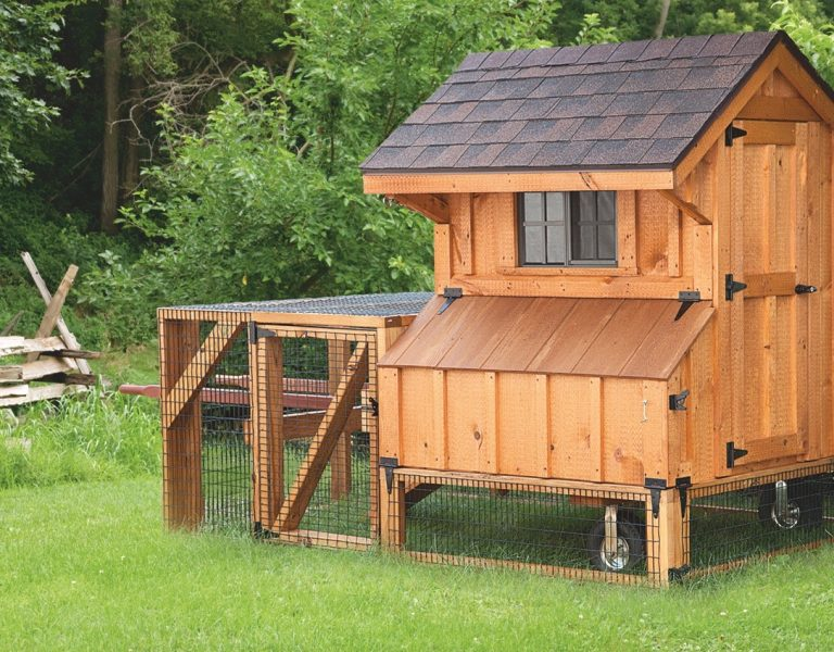 chicken coop tractor Cedar Stain Q44T Front View 1