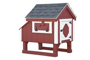 a frame chicken coop Red A33 Back View