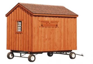 a frame chicken coop Rustic Cedar Stain A80 With Optional Wheels Back View 1