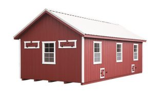 a frame chicken coop Red A124 With Optional Metal Roof Back View
