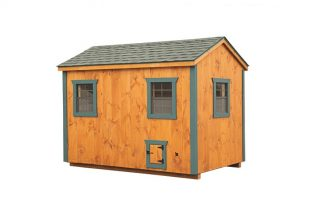 a frame chicken coop Cedar Stain With Optional Green Trim A60 Back View 1