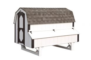 barn style chicken coops White D48 Front View