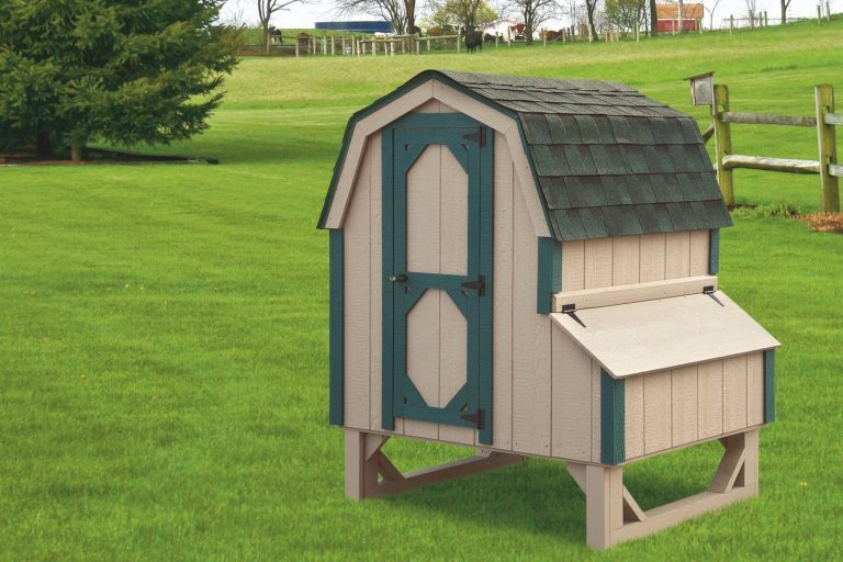 """barn style chicken coops 4x4 Dutch With Duratemp® siding 78"""" high 14"""" off ground 4 nesting boxes Buckskin siding with green trim Forest green shingles"""
