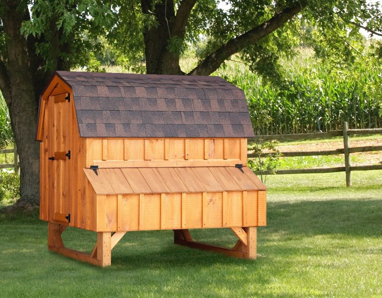 backyard chicken coops Cedar Stain D46 Front View 3