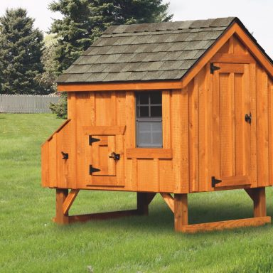"backyard chicken coops 4x4 A Frame With board and batten siding 65"" high 14"" off ground 4 nesting boxes Rustic cedar stain Weather gray shingles"